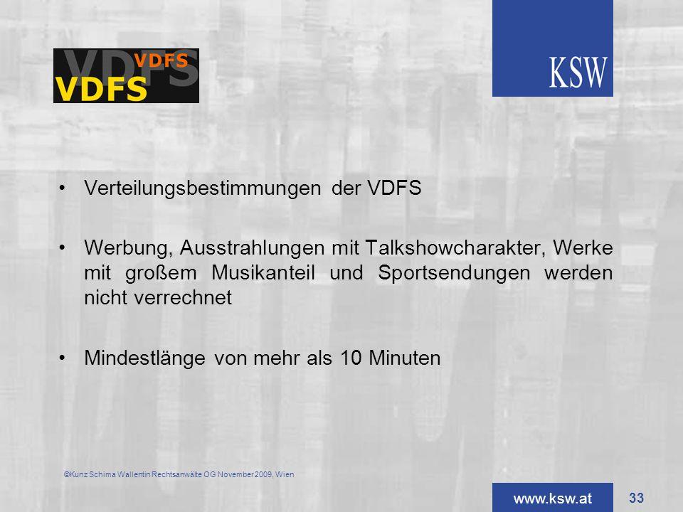Verteilungsbestimmungen der VDFS