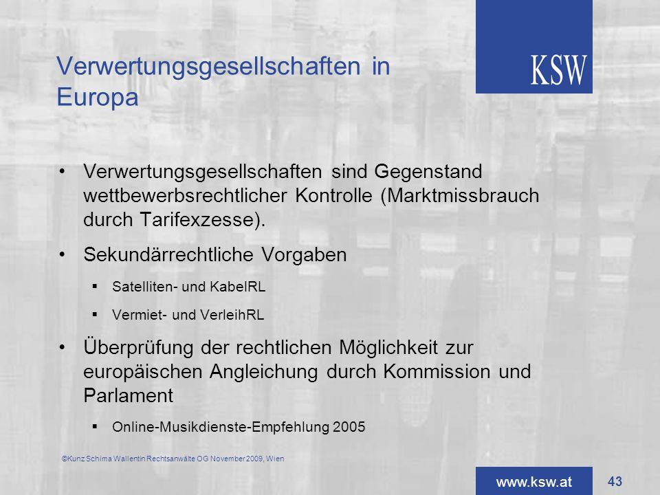 Verwertungsgesellschaften in Europa
