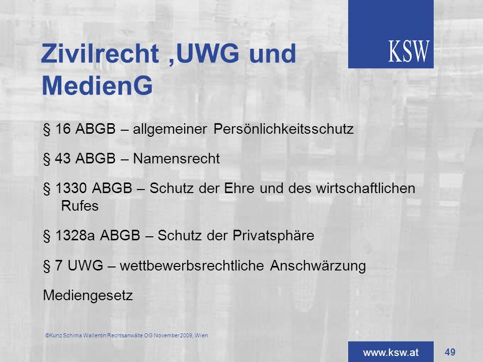 Zivilrecht ,UWG und MedienG