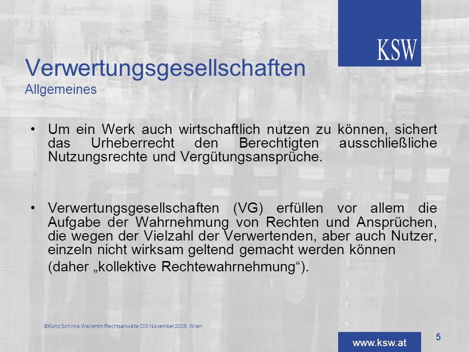 Verwertungsgesellschaften Allgemeines
