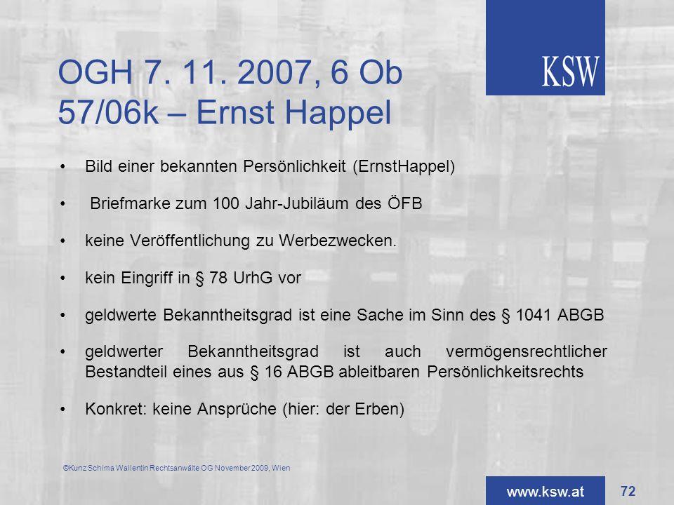 OGH 7. 11. 2007, 6 Ob 57/06k – Ernst Happel Bild einer bekannten Persönlichkeit (ErnstHappel) Briefmarke zum 100 Jahr-Jubiläum des ÖFB.