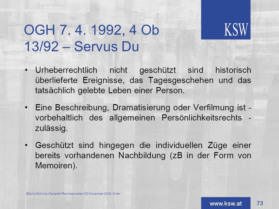 OGH 7. 4. 1992, 4 Ob 13/92 – Servus Du