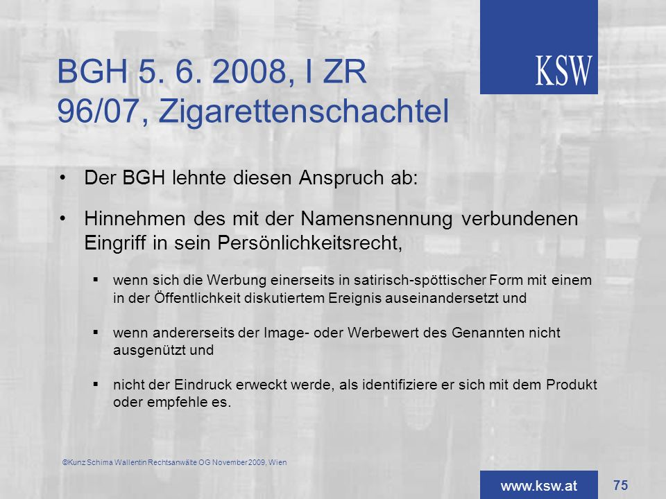 BGH 5. 6. 2008, I ZR 96/07, Zigarettenschachtel