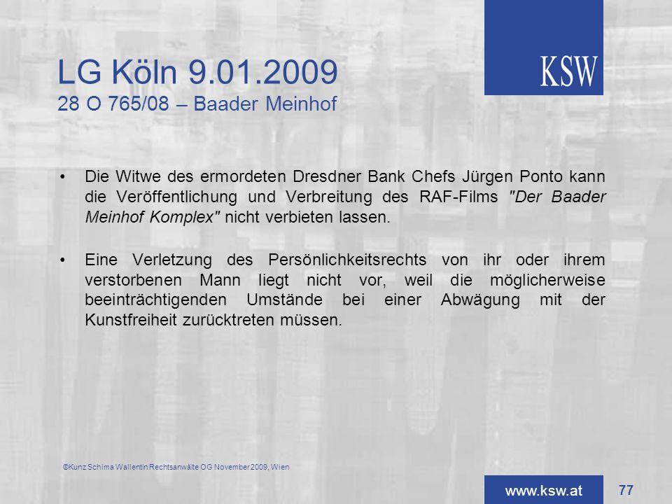 LG Köln 9.01.2009 28 O 765/08 – Baader Meinhof