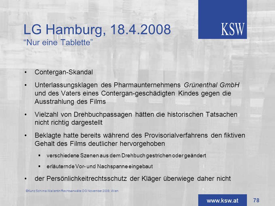 LG Hamburg, 18.4.2008 Nur eine Tablette