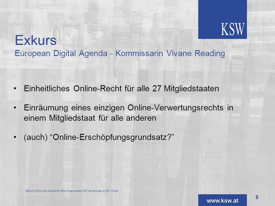 Exkurs European Digital Agenda - Kommissarin Vivane Reading