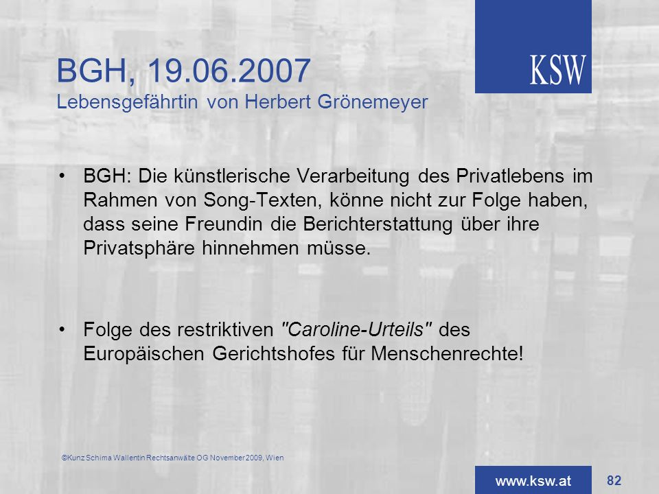 BGH, 19.06.2007 Lebensgefährtin von Herbert Grönemeyer