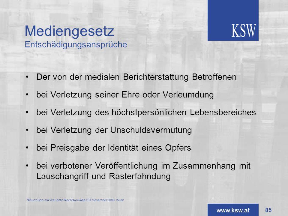 Mediengesetz Entschädigungsansprüche