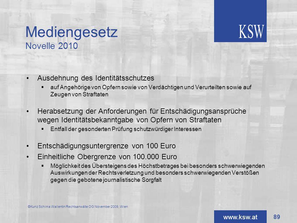 Mediengesetz Novelle 2010 Ausdehnung des Identitätsschutzes