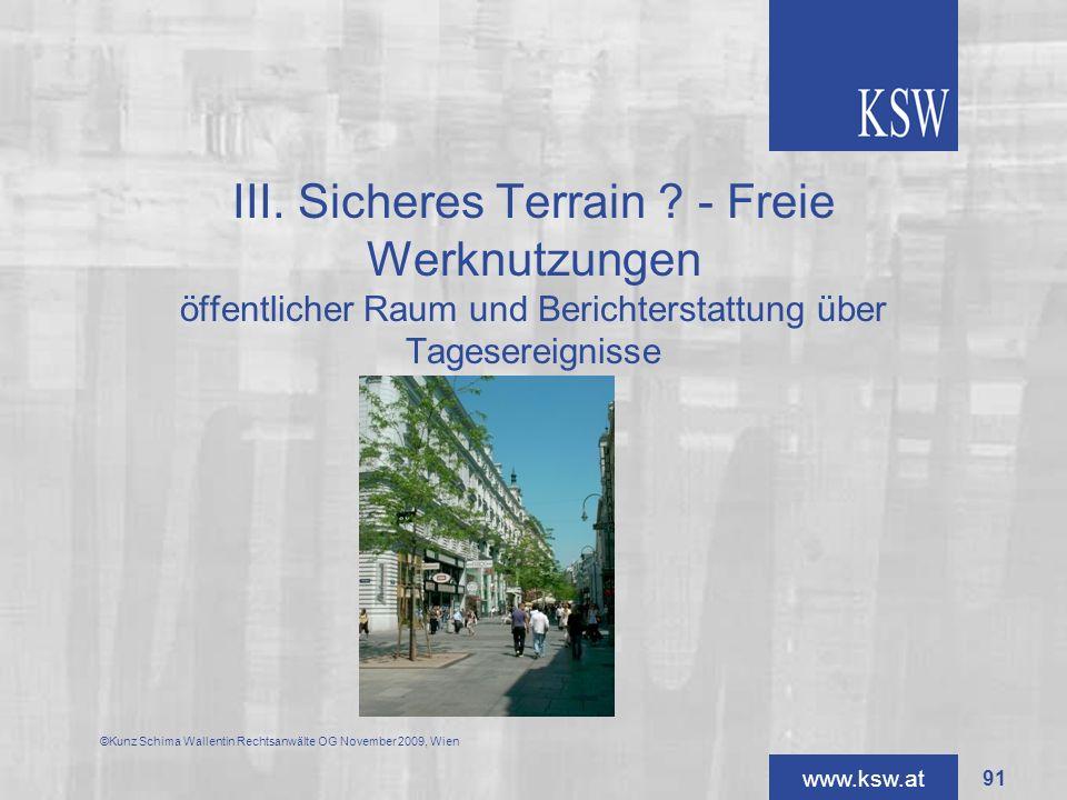 III. Sicheres Terrain - Freie Werknutzungen