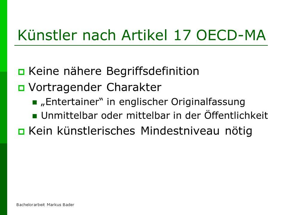 Künstler nach Artikel 17 OECD-MA