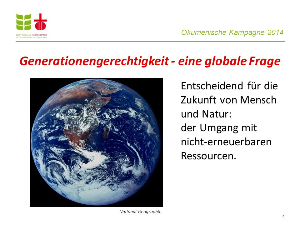 Generationengerechtigkeit - eine globale Frage