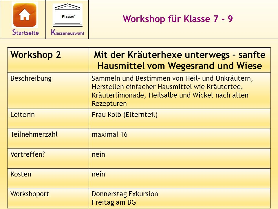 Workshop für Klasse 7 - 9 Workshop 2