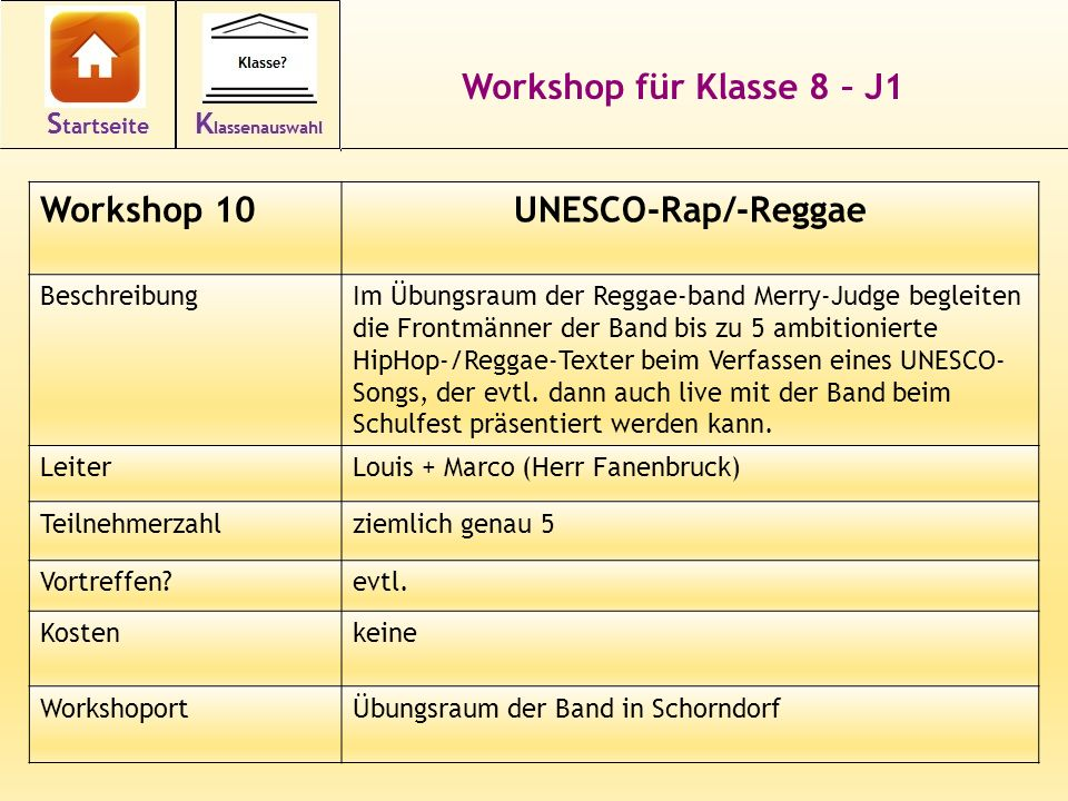 Workshop für Klasse 8 – J1 UNESCO-Rap/-Reggae