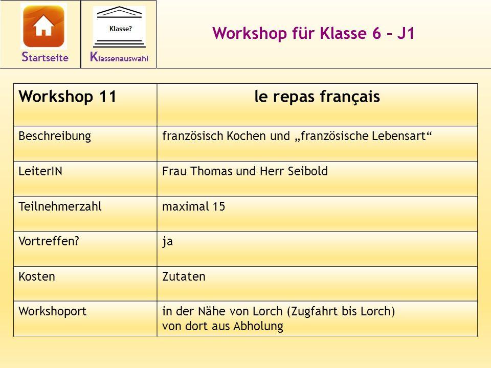 Workshop für Klasse 6 – J1 le repas français