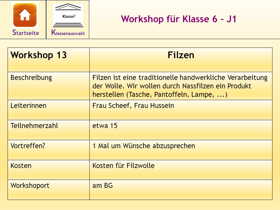 Workshop für Klasse 6 – J1 Filzen