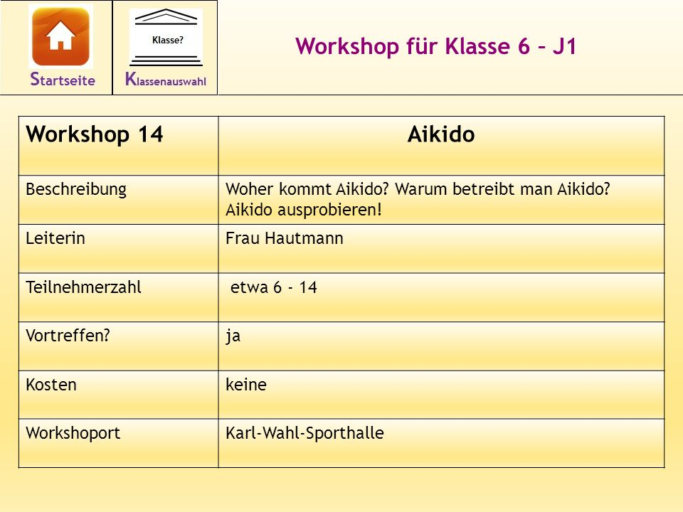 Workshop für Klasse 6 – J1 Aikido