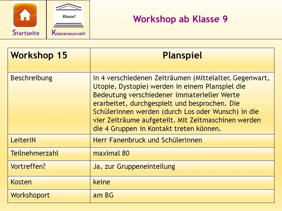 Workshop ab Klasse 9 Planspiel