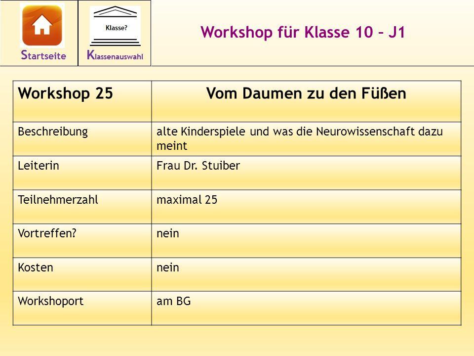 Workshop für Klasse 10 – J1 Vom Daumen zu den Füßen