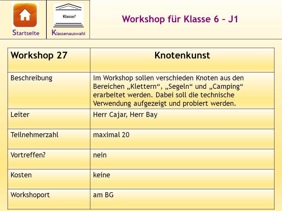 Workshop für Klasse 6 – J1 Knotenkunst