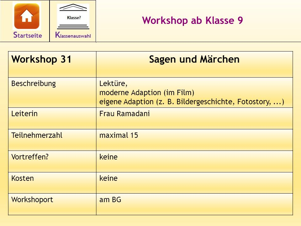 Workshop ab Klasse 9 Sagen und Märchen