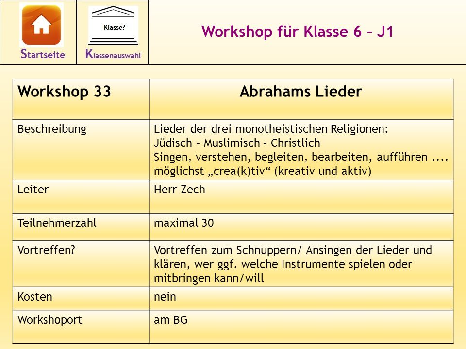 Workshop für Klasse 6 – J1 Abrahams Lieder