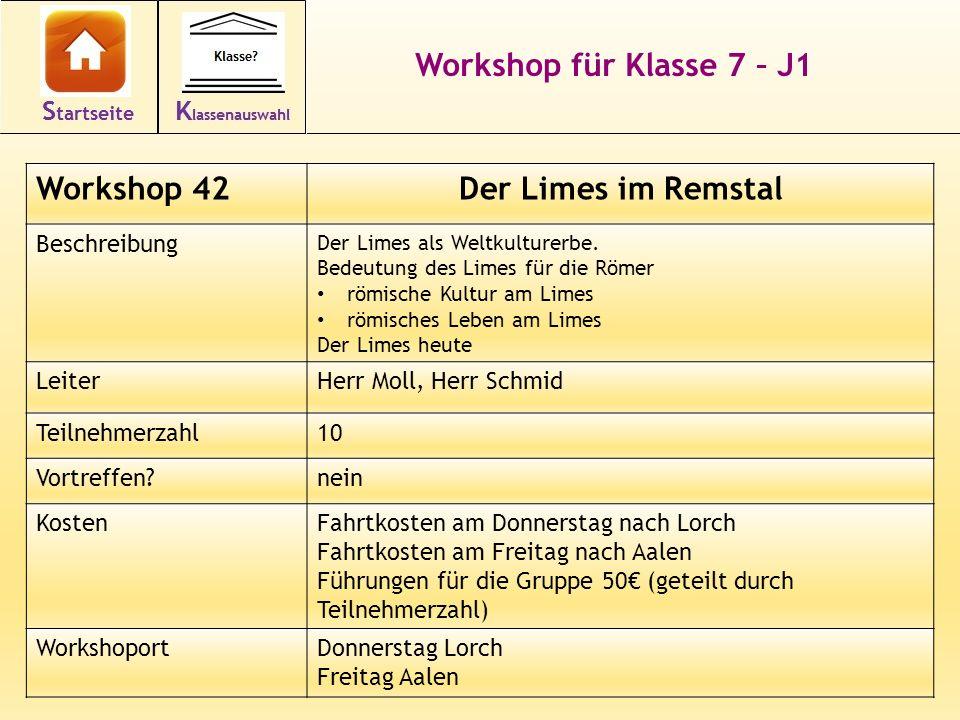 Workshop für Klasse 7 – J1 Der Limes im Remstal