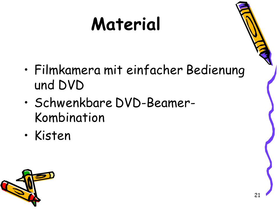 Material Filmkamera mit einfacher Bedienung und DVD
