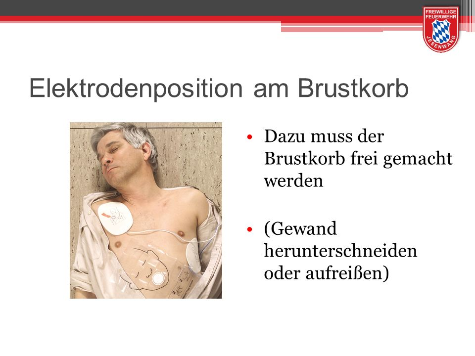 Elektrodenposition am Brustkorb