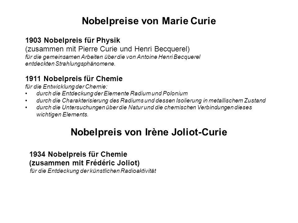Nobelpreise von Marie Curie Nobelpreis von Irène Joliot-Curie