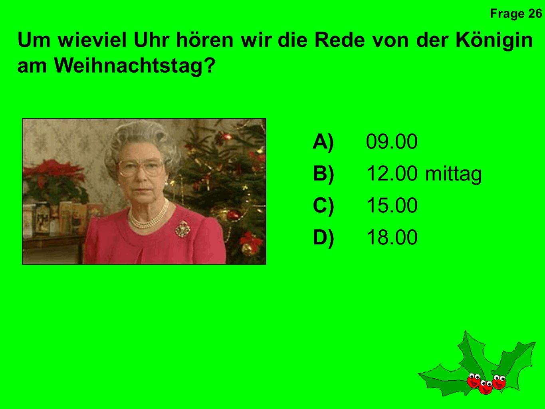 Um wieviel Uhr hören wir die Rede von der Königin am Weihnachtstag