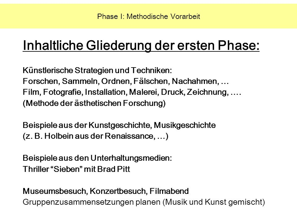 Phase I: Methodische Vorarbeit