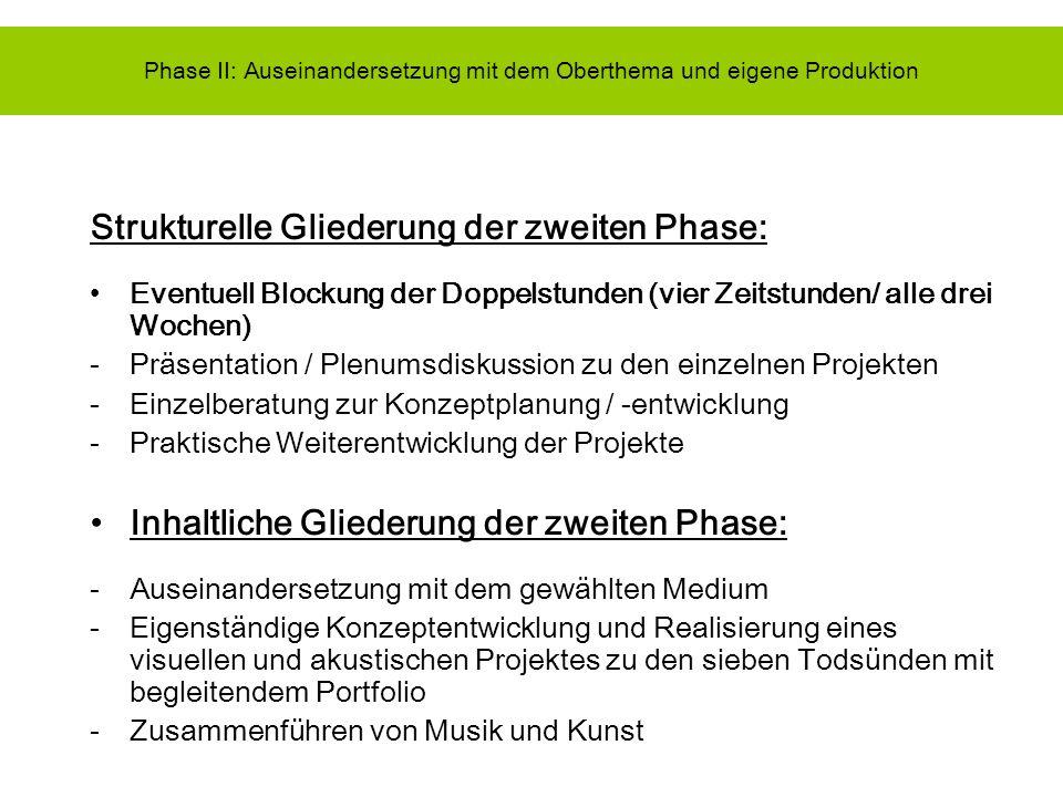 Phase II: Auseinandersetzung mit dem Oberthema und eigene Produktion
