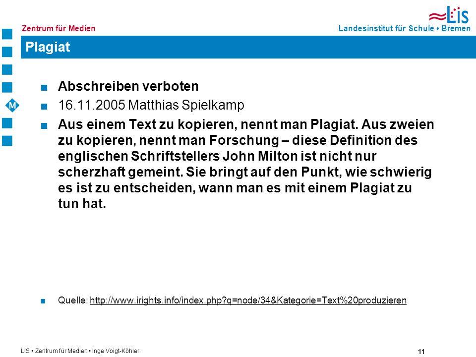 Plagiat Abschreiben verboten 16.11.2005 Matthias Spielkamp