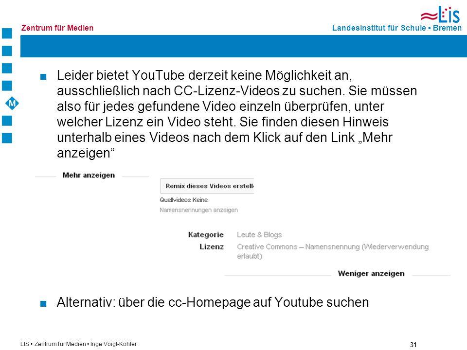 """Leider bietet YouTube derzeit keine Möglichkeit an, ausschließlich nach CC-Lizenz-Videos zu suchen. Sie müssen also für jedes gefundene Video einzeln überprüfen, unter welcher Lizenz ein Video steht. Sie finden diesen Hinweis unterhalb eines Videos nach dem Klick auf den Link """"Mehr anzeigen"""