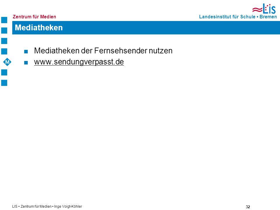 Mediatheken Mediatheken der Fernsehsender nutzen www.sendungverpasst.de