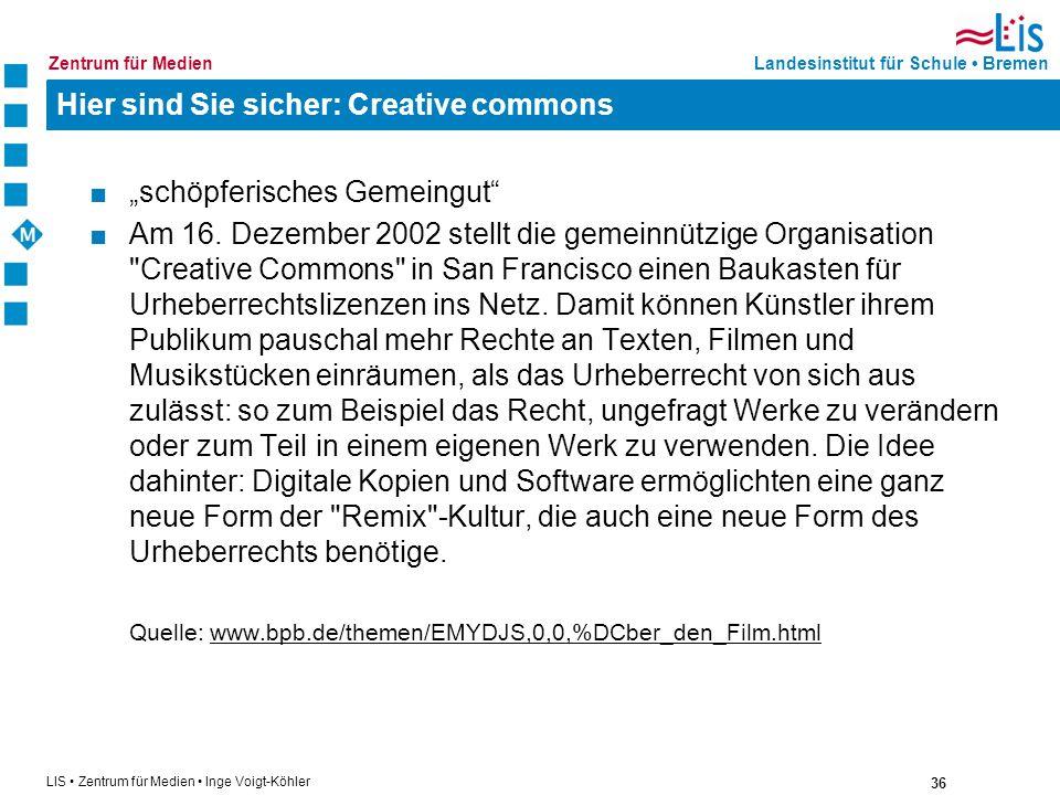 Hier sind Sie sicher: Creative commons