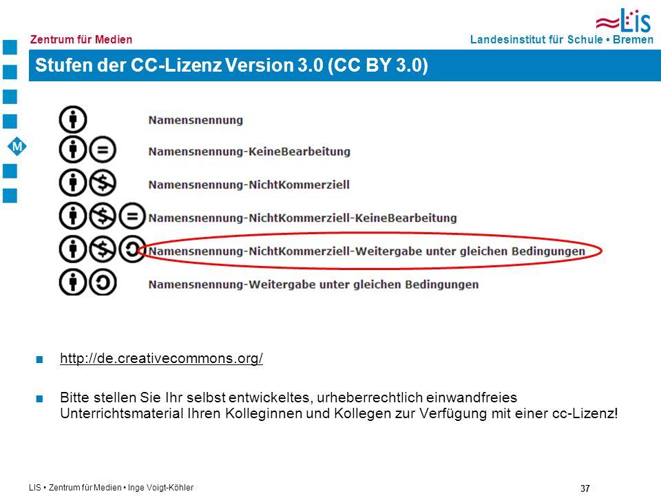 Stufen der CC-Lizenz Version 3.0 (CC BY 3.0)
