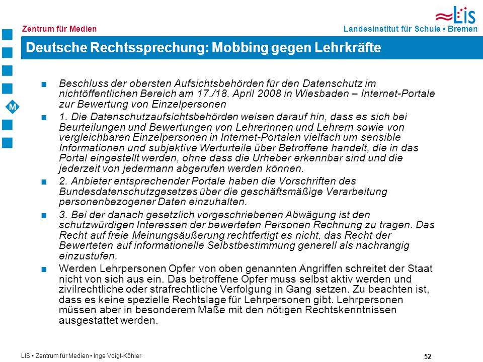 Deutsche Rechtssprechung: Mobbing gegen Lehrkräfte