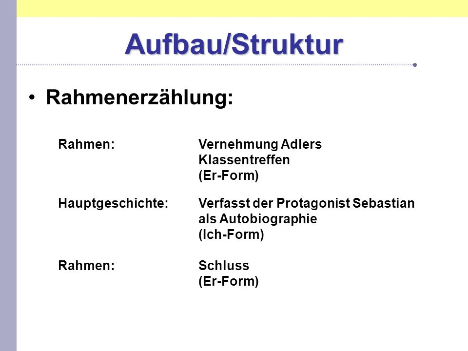 Aufbau/Struktur Rahmenerzählung: Rahmen: Vernehmung Adlers