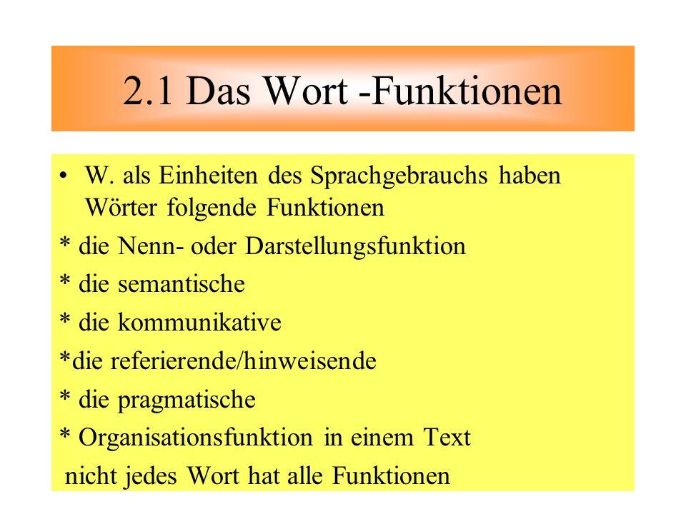2.1 Das Wort -Funktionen W. als Einheiten des Sprachgebrauchs haben Wörter folgende Funktionen. * die Nenn- oder Darstellungsfunktion.