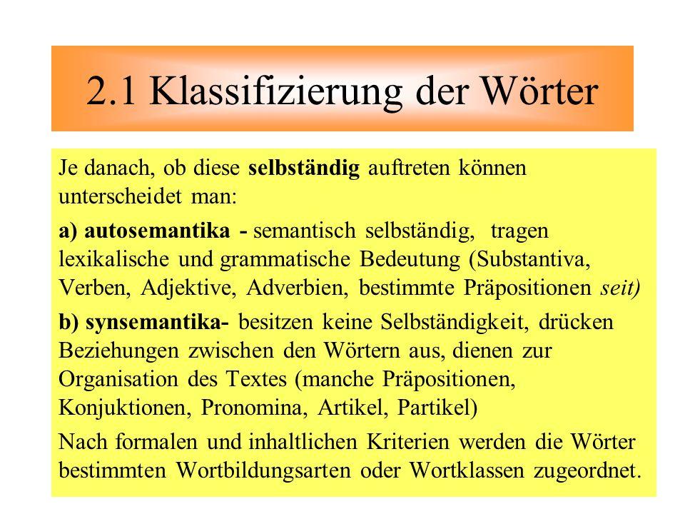2.1 Klassifizierung der Wörter