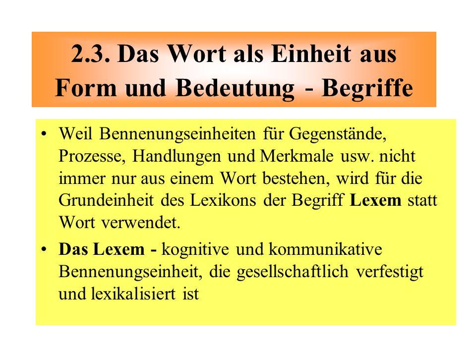 2.3. Das Wort als Einheit aus Form und Bedeutung - Begriffe