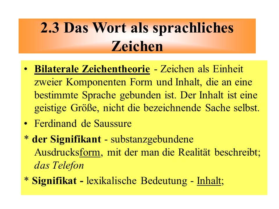 2.3 Das Wort als sprachliches Zeichen