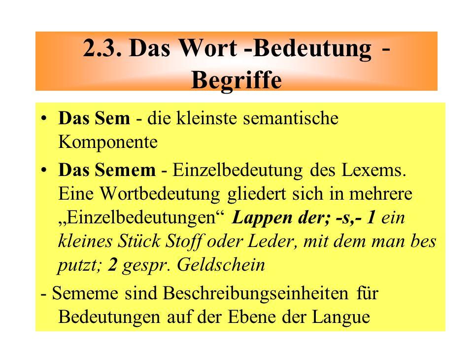 2.3. Das Wort -Bedeutung - Begriffe