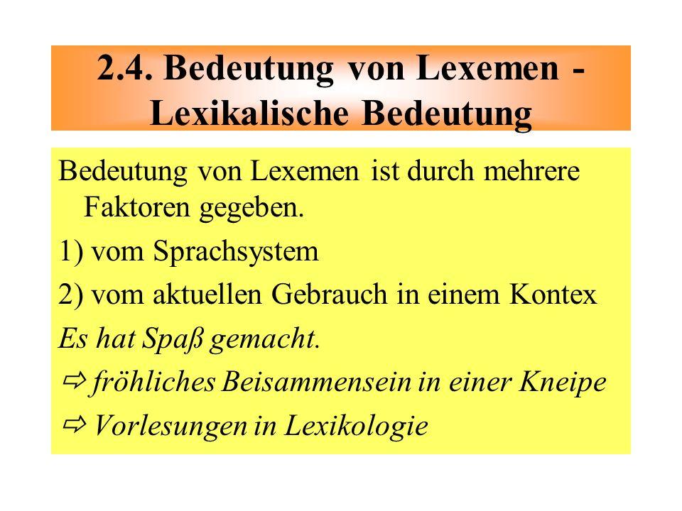 2.4. Bedeutung von Lexemen - Lexikalische Bedeutung