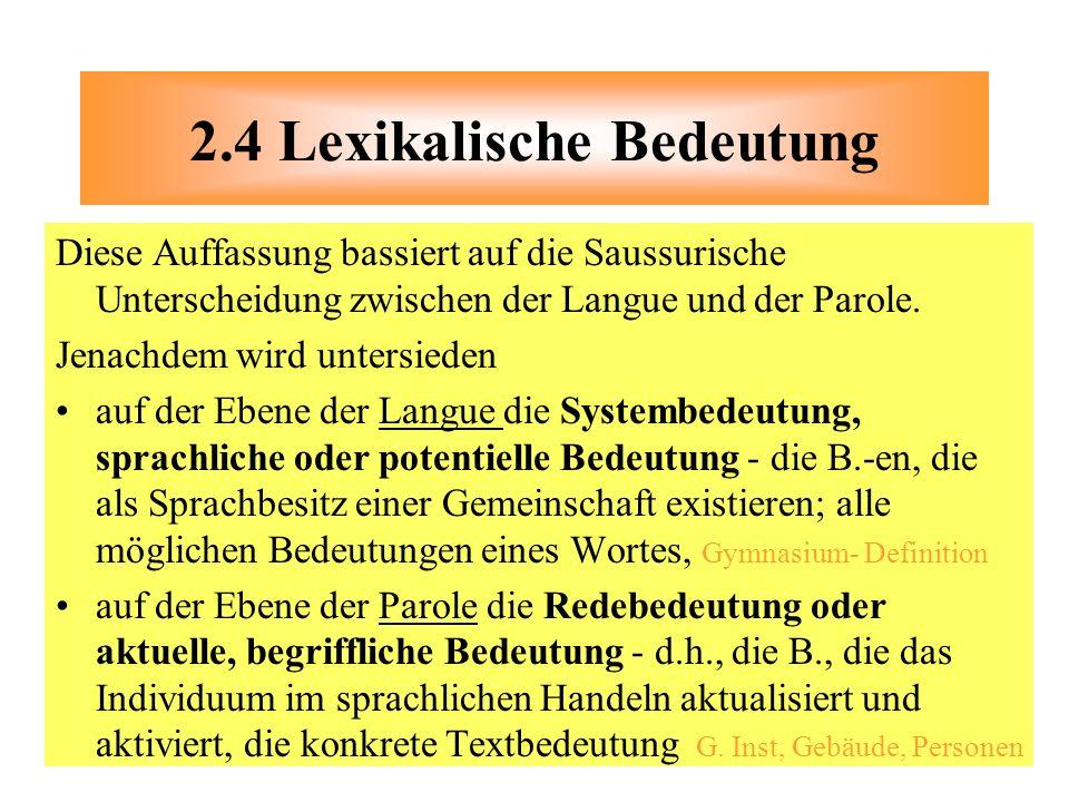 2.4 Lexikalische Bedeutung