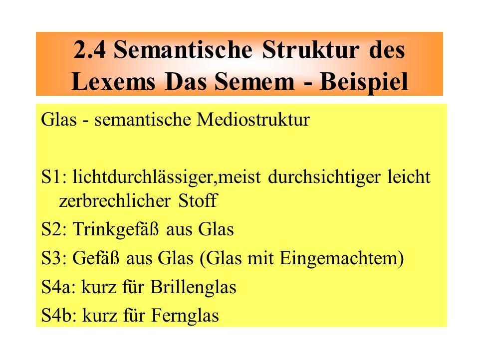 2.4 Semantische Struktur des Lexems Das Semem - Beispiel