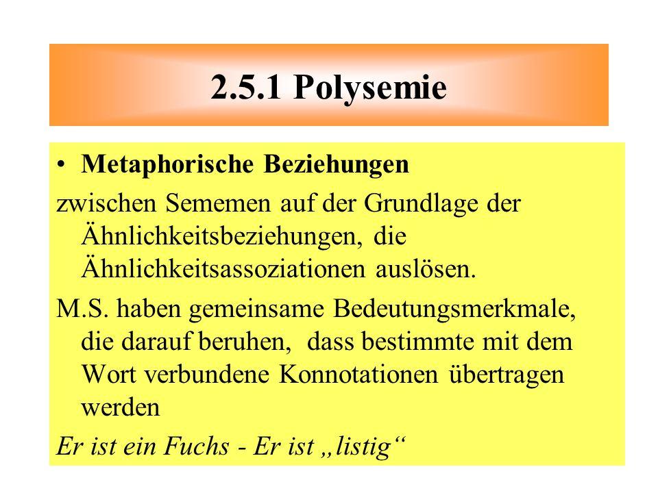 2.5.1 Polysemie Metaphorische Beziehungen