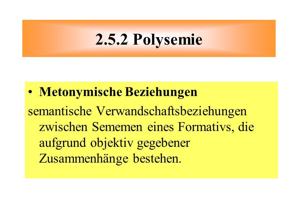 2.5.2 Polysemie Metonymische Beziehungen